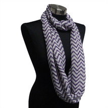 Chevron Sheer Infinity Scarf Purple/White Contrasting Colors Gift US Seller - $5.89