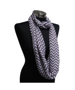 Chevron Sheer Infinity Scarf Purple/White Contrasting Colors Gift US Seller - €5,41 EUR