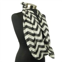 Chevron Sheer Infinity Scarf Soft Multi Color Scarves Black Wrap Lightwe... - $7.69