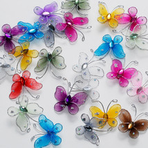 "1"" Sheer Nylon Crystal Wire Butterfly w/ Rhineston Party decorations 24PCS - $12.99"