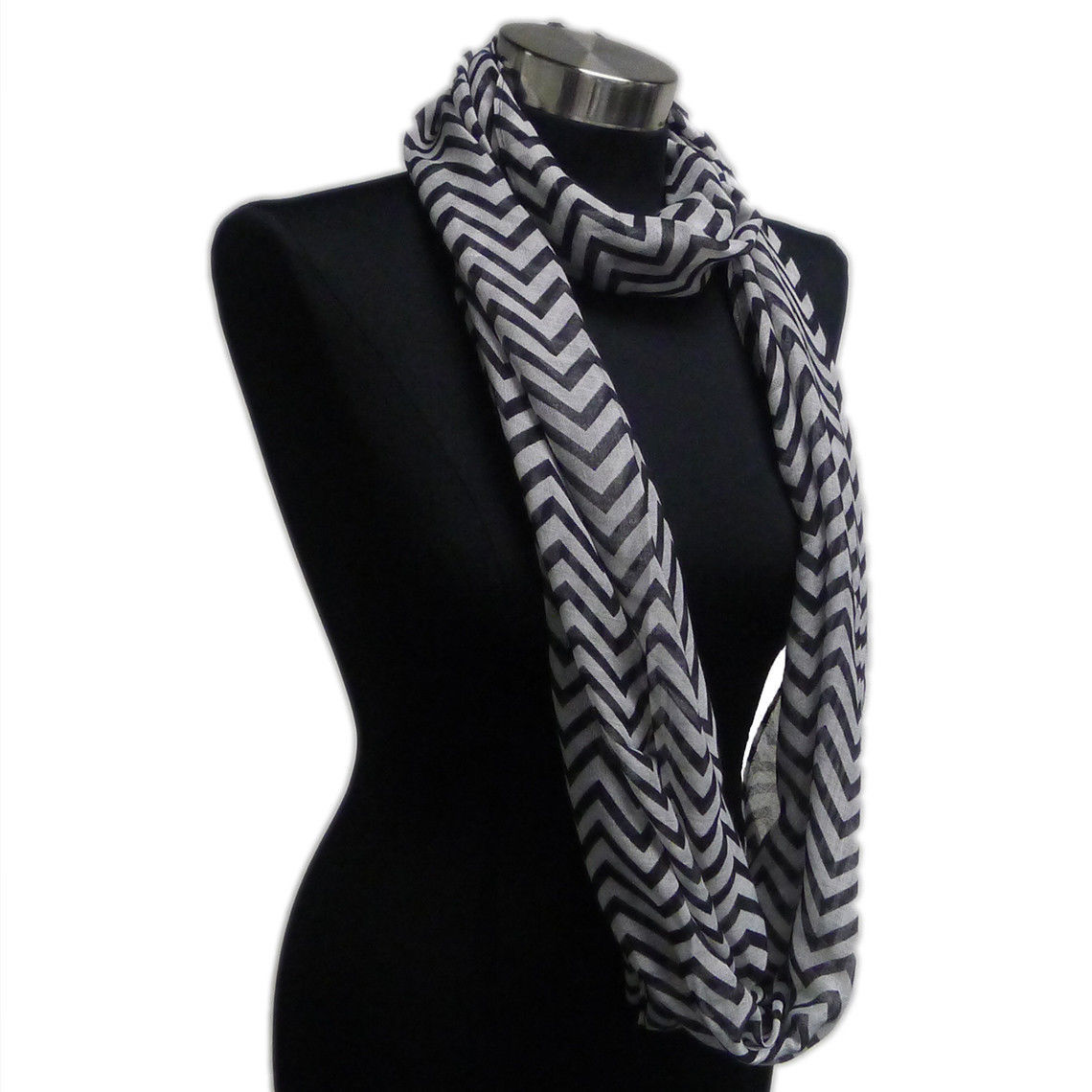 Primary image for Chevron Sheer Infinity Scarf Black Contrasting Colors Soft Warm Gift US Seller