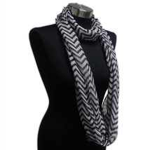Chevron Sheer Infinity Scarf Black Contrasting Colors Soft Warm Gift US ... - $5.89