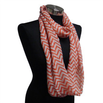 Chevron Sheer Infinity Scarf Copper Contrasting Colors Warm Soft Gift US... - $5.89
