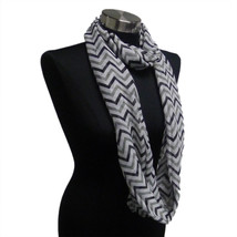 Chevron Sheer Infinity Scarf Black/Grey/White Contrasting Colors Gift US... - £4.49 GBP