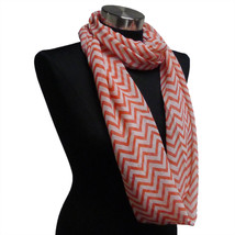 Chevron Sheer Infinity Scarf Strawberry Pink Contrasting Colors Gift US ... - $5.89