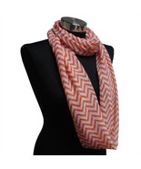 Chevron Sheer Infinity Scarf Strawberry Pink Contrasting Colors Gift US ... - €5,41 EUR