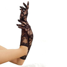 Leg Avenue Women's Black Nylon Stretch Lace Gloves Elbow Length One Size - $8.59