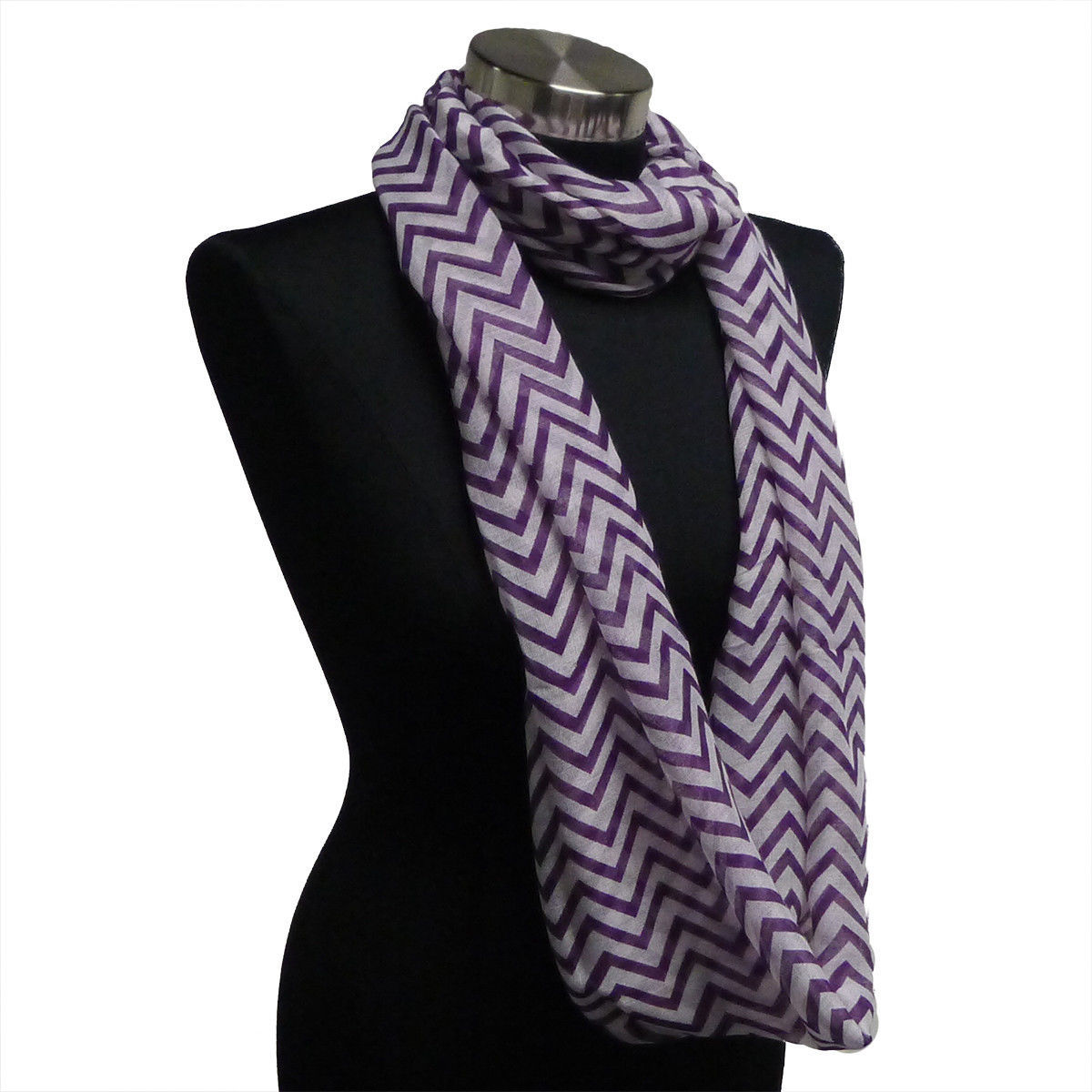 Primary image for Chevron Sheer Infinity Scarf Purple Contrasting Colors Soft Warm Gift US Seller