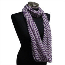 Chevron Sheer Infinity Scarf Purple Contrasting Colors Soft Warm Gift US... - £4.49 GBP