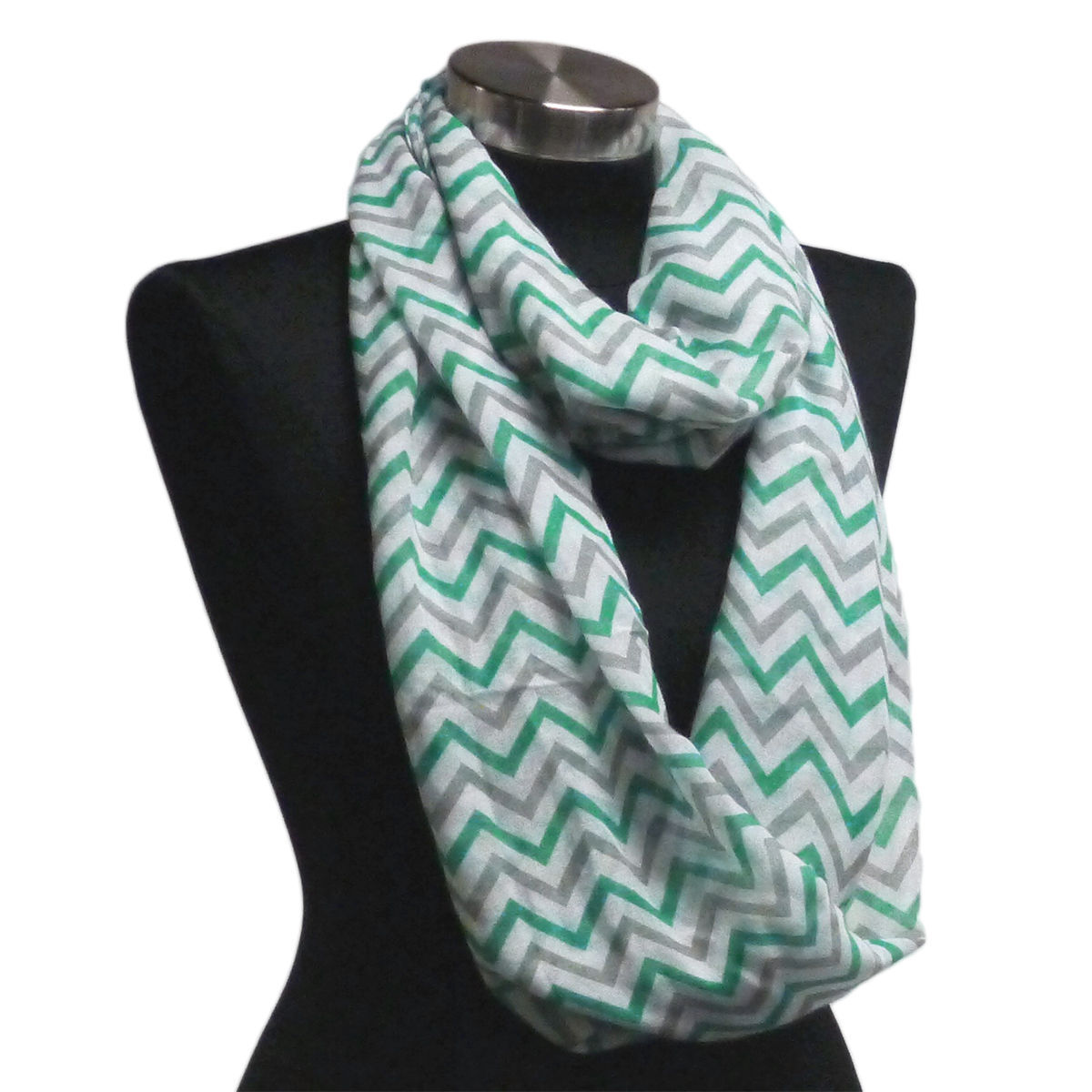 Primary image for Chevron Sheer Infinity Scarf Green & Grey & White Contrasting Colors US Seller