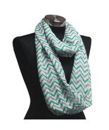 Chevron Sheer Infinity Scarf Green & Grey & White Contrasting Colors US ... - €5,41 EUR