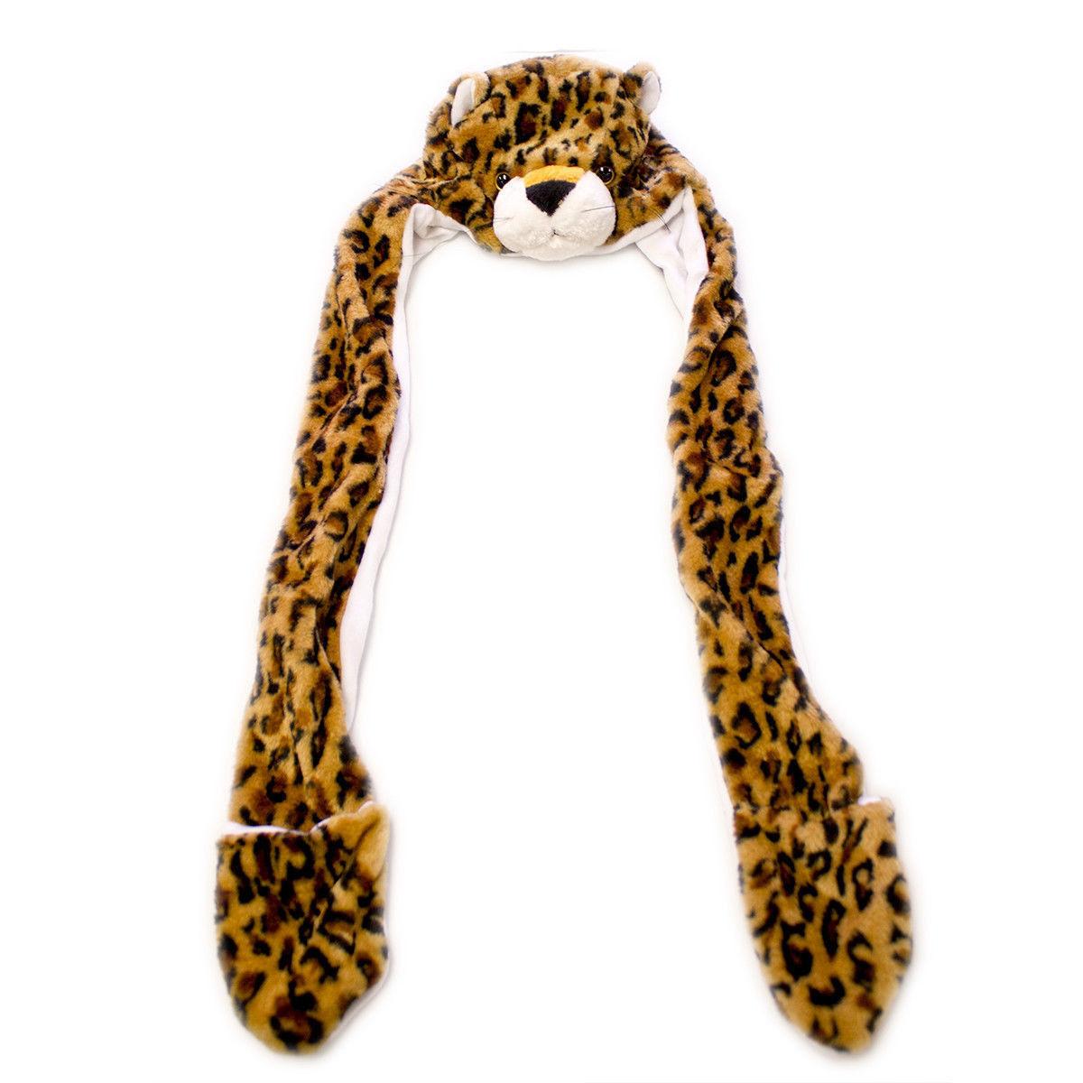 Leopard Winter Hat Fluffy Plush Warm Cap Mittens Scarf Gift Hoodie Beanie 2pk