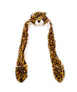 Leopard Winter Hat Fluffy Plush Warm Cap Mittens Scarf Gift Hoodie Beani... - ₨3,580.92 INR