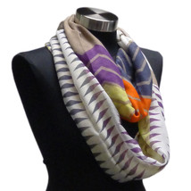 Gray Jewel Tone Geometric Chevron Infinity Scarf Fall Accessories Shawl ... - $9.49