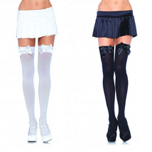 Leg Avenue Plus Size Opaque Women's Black White Thigh Highs w/ Satin Bow... - $5.99