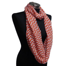 Chevron Sheer Infinity Scarf Ruby Red Contrasting Colors Soft Gift US Se... - £4.49 GBP