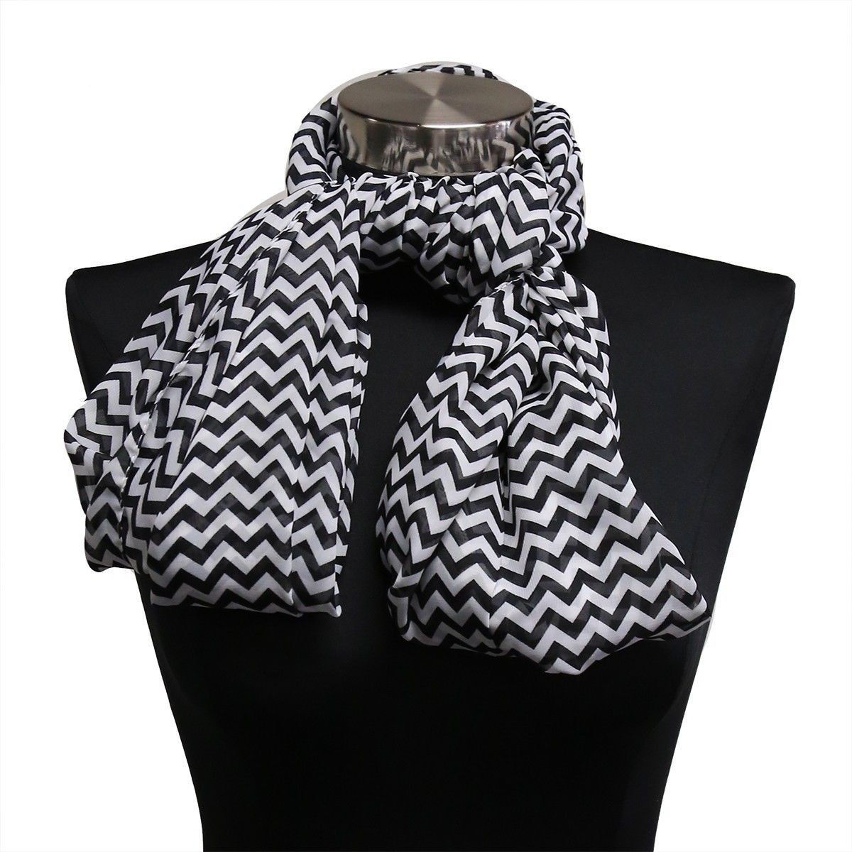 White & Black Chevron Light Weight Infinity Wrap Cowl Women Scarf Scarves Hijab