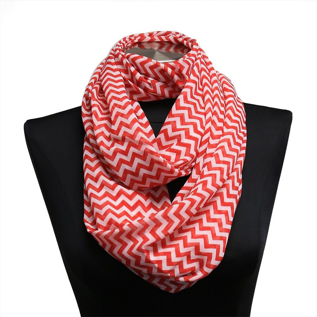 Red Chevron Lightweight Infinity Wrap Cowl Women Scarf Circle Loop Scarves Hijab