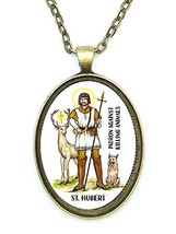 St Hubert Against Killing Animals Huge 30x40mm Antique Bronze Gold Penda... - $14.95