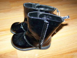 Infant Toddler Size 2 Black Patent Leather Winter Boots Faded Glory Shin... - £11.79 GBP