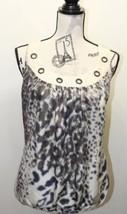 Guess Women Blouse Sexy Haltered 100% Silk Brown Animal Black Print XL - $37.04
