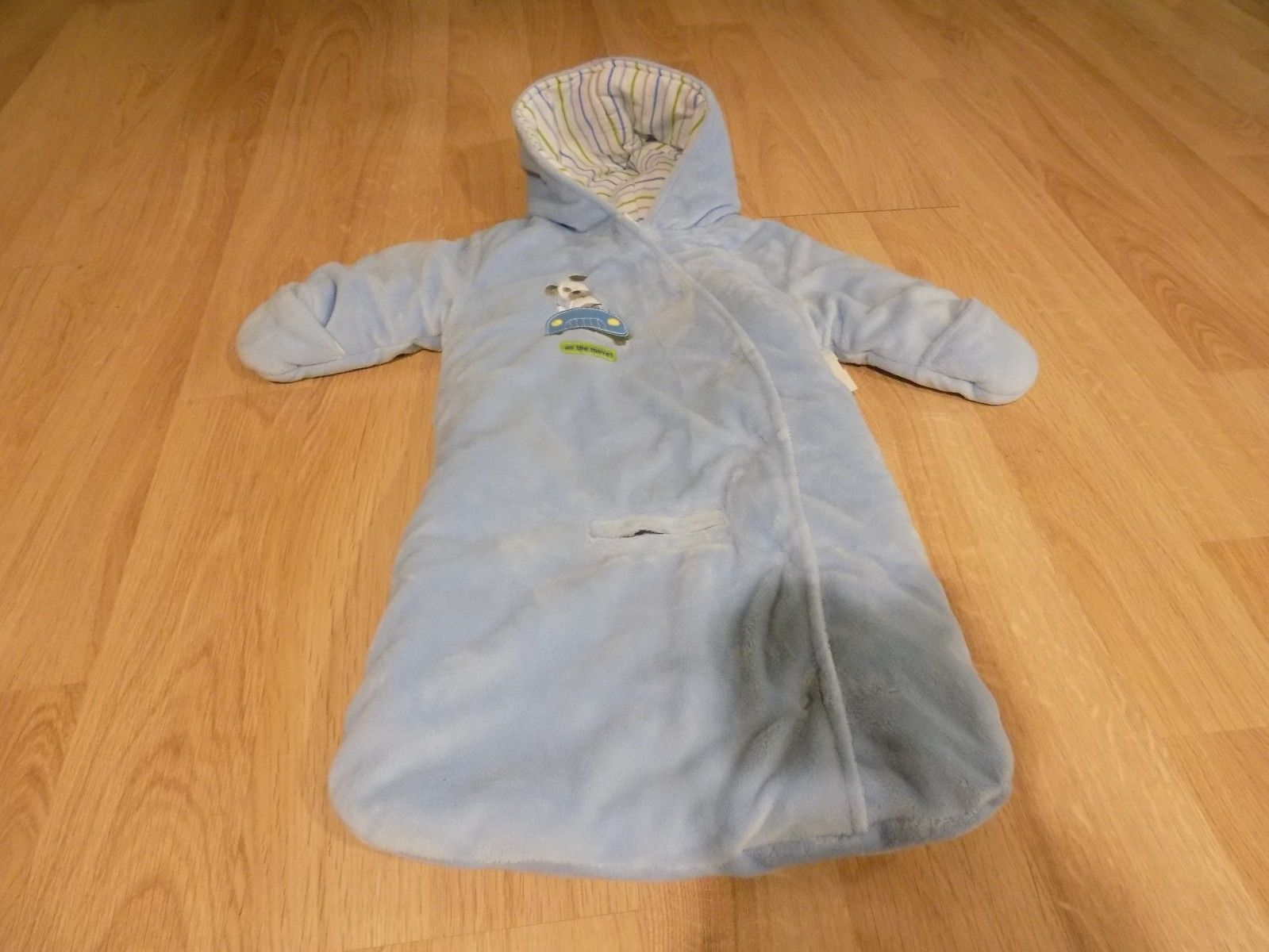 Infant Size 3-6 Months Carter`s Blue Snowsuit Bunting Bag On The Move Dog Car