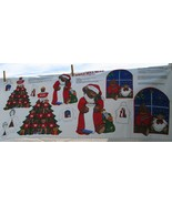 Jingle Bell Bear Christmas Appliques, Cotton Fabric Panel, VIP Cranston,... - $3.94