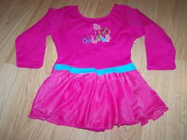 Size XS 4-5 Jacques Moret Hot Pink 3/4 Sleeve Skirted Leotard LOVE PEACE... - $17.00