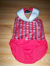 Size Child Large 14-16 Weissmans Red White Silver Dance Leotard Costume ... - $35.00