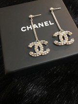 SALE* AUTH CHANEL 2019 LARGE CC LOGO Crystal Dangle Drop SILVER Earrings image 10