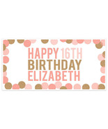 Big Dots Sweet Sixteen 16 Birthday Banner Personalized Custom Party Back... - $22.28+