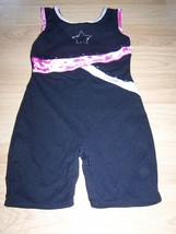 Size Medium Jacques Moret Dance Gymnastics Unitard Leotard Black Pink St... - $18.00