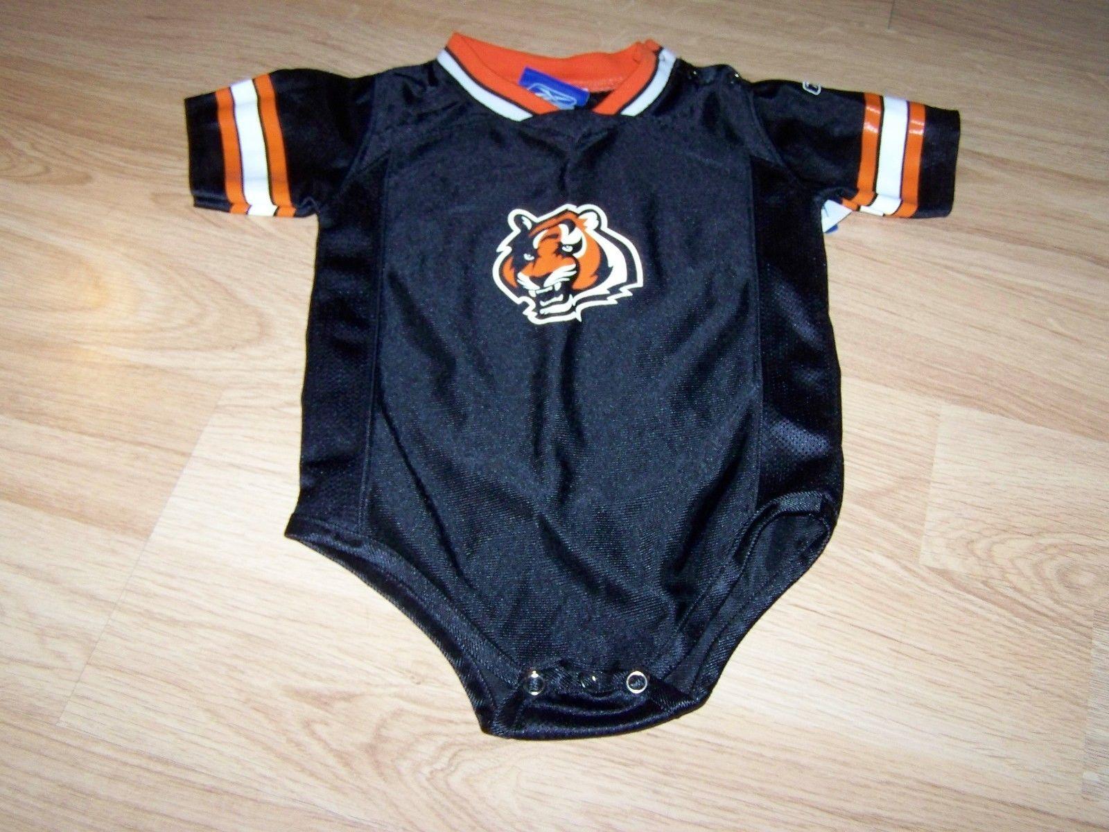 Infant Size 24 Months Cincinnati Bengals One Piece Jersey Black Orange Reebok
