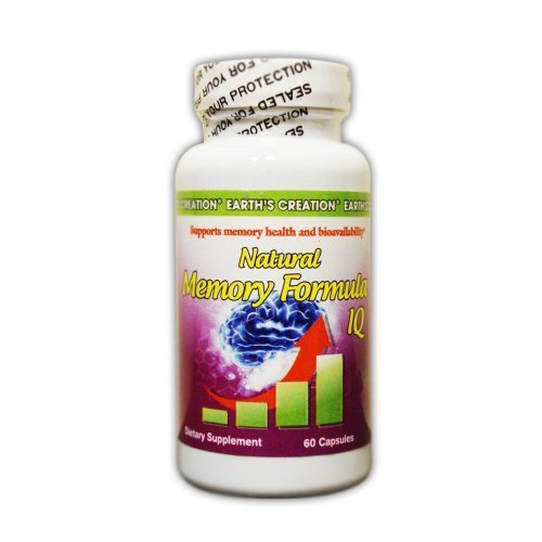 Earth's Creation Natural Memory Formula IQ - DHA, L-Glutamine, Co Q10, BioPer...
