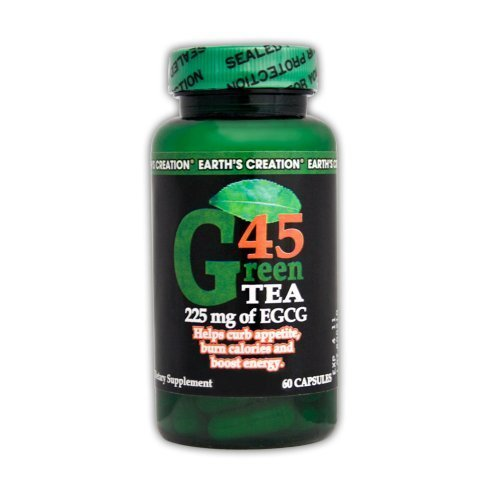 Earth's Creation Green Tea G45 - 225mg of EGCG - Helps Suppress Appetite & Bo...