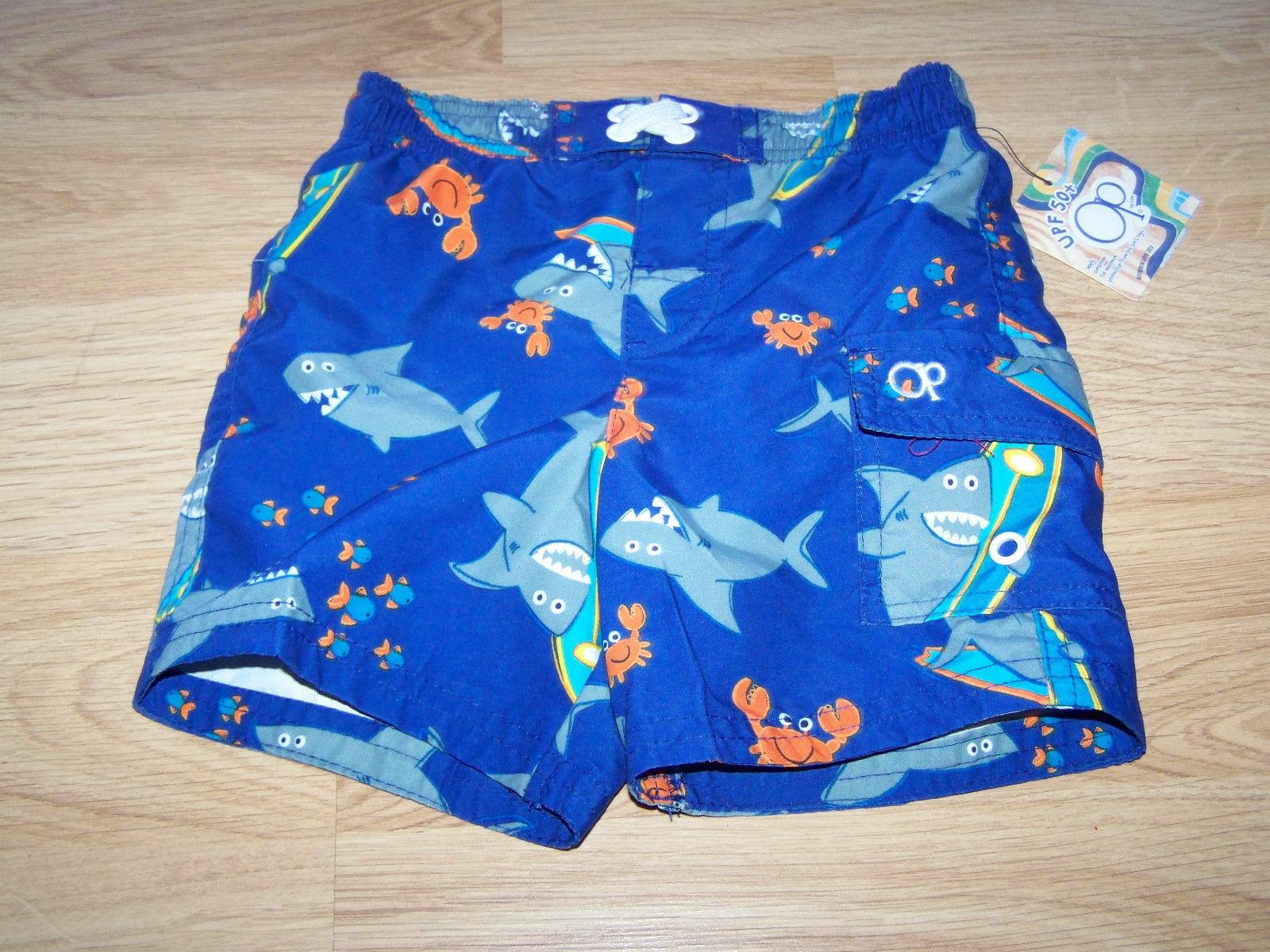 OP Baby Infant Boys Sharks Swim Trunks Shorts 6-9 Month Blue