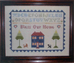 CLEARANCE Bless Our Home Sampler cross stitch chart One More Stitch - $3.00