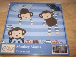 Cocalo Baby Monkey Mania Canvas Art Nursery Decor Wall Hanging Blue 12 X... - $22.00