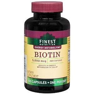 Finest Nutrition Biotin 5000 mcg, 100 Capsules [Health and Beauty]