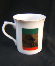 Starbucks Coffee Christmas Blend White Mug Flared Gold Trim Rim Made in ... - $17.95