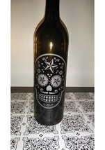 Hand Etched Day of the Dead/Sugar Skull - Star - Wine Bottle Lamp - $24.99