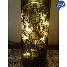 Hand Etched Day of the Dead/Sugar Skull - Original Skull - Wine Bottle Lamp - $24.99