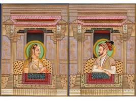 Imperial Mughal Painting Handpainted Shah Jahan & Mumtaz Mahal Miniature... - $129.99