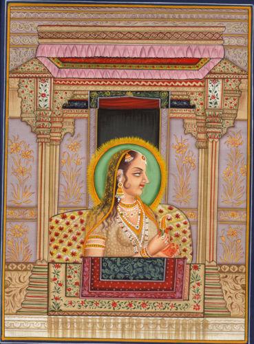 Imperial Mughal Painting Handpainted Shah Jahan & Mumtaz Mahal Miniature Art