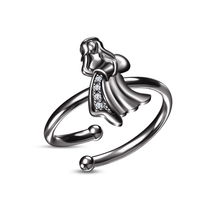 Women Sim.Diamond Black Gold Over Aquarius Zodiac Signs Opening Adjustable Ring - £17.58 GBP