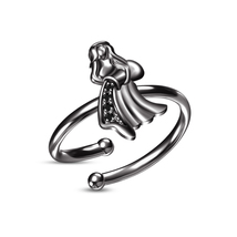 New Black Gold Plated .925 Silver RD CZ Aquarius Zodiac Women's Adjustable Ring - £18.25 GBP