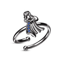 Round Blue Sapphire Black Gold GP Aquarius Zodiac Sign Open Adjustable Ring - £17.58 GBP