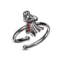 Red Garnet Black Gold Finishing Beautiful Aquarius Zodiac Sign Adjustable Ring - $22.99