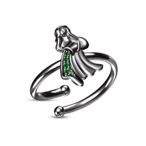 Round Green Sapphire Black Gold Plated Aquarius Zodiac Sign Open Adjustable Ring - $22.99