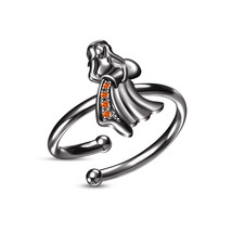 Beautiful Orange Sapphire Black Gold Plated Aquarius Zodiac Sign Adjustable Ring - $22.99